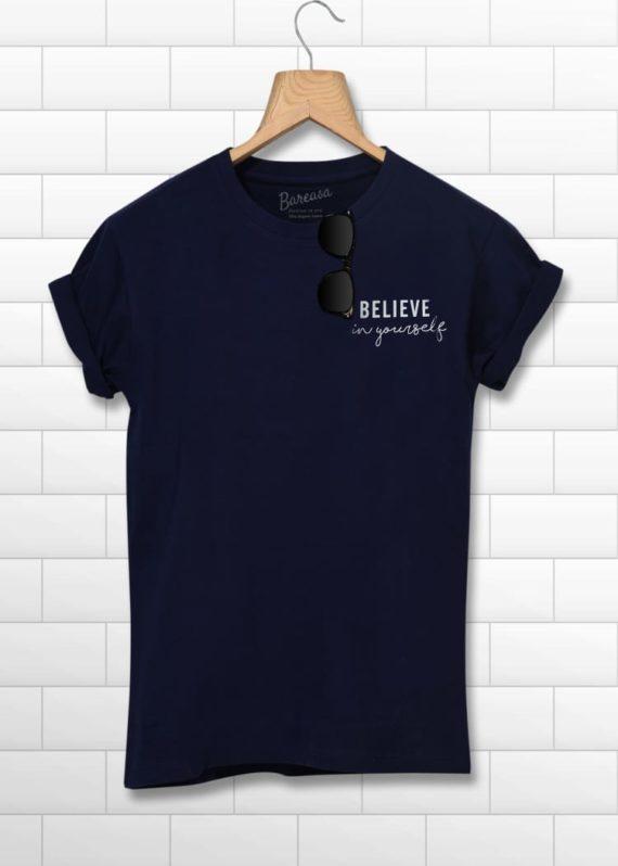men round neck half sleeves navy blue printed tshirt