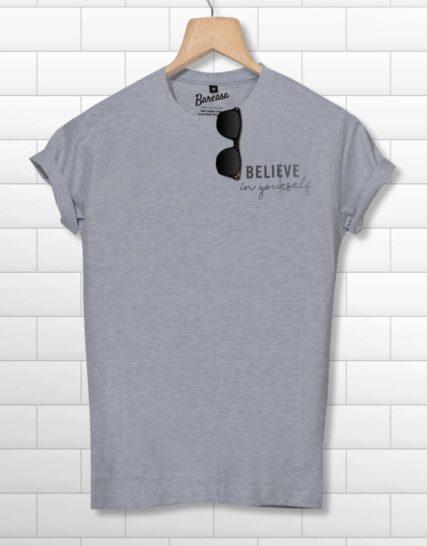 men round neck half sleeves grey printed tshirt