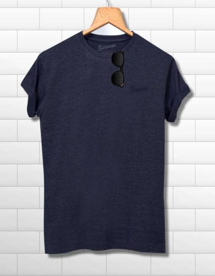 men round neck half sleeves blue printed tshirt