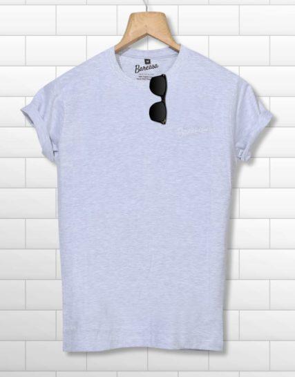 men round neck half sleeves white printed tshirt