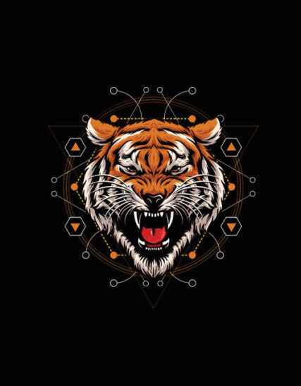 Geometric Tiger2 Half Sleeves Black T-shirt For Men