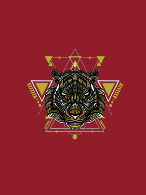 Geometric Tiger-3 Full Sleeves Red T-shirt For Men 1