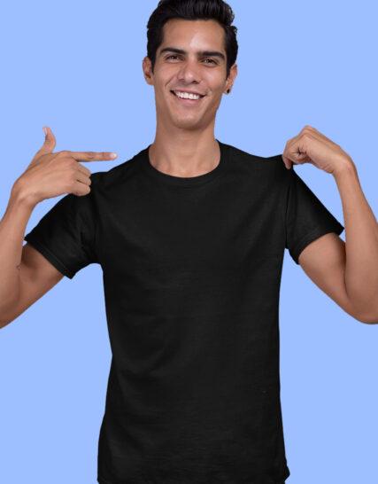 black plain half sleeves round neck t-shirt