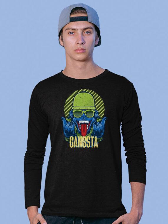 GANGSTA Full Sleeves Black T-shirt For Men 1