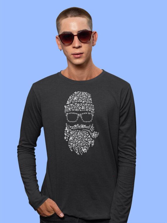 Birds-Beard black full big prints for mens 3