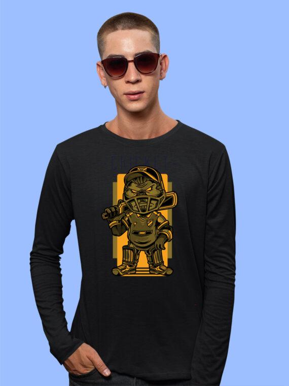 CRICKET Black Full Big Sleeves Prints For Mens 3