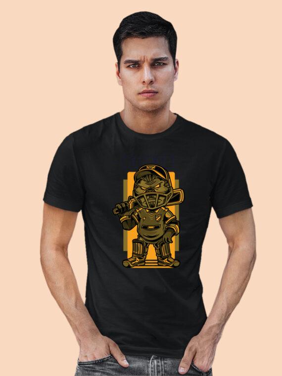 CRICKET black half sleeves big prints for mens 3