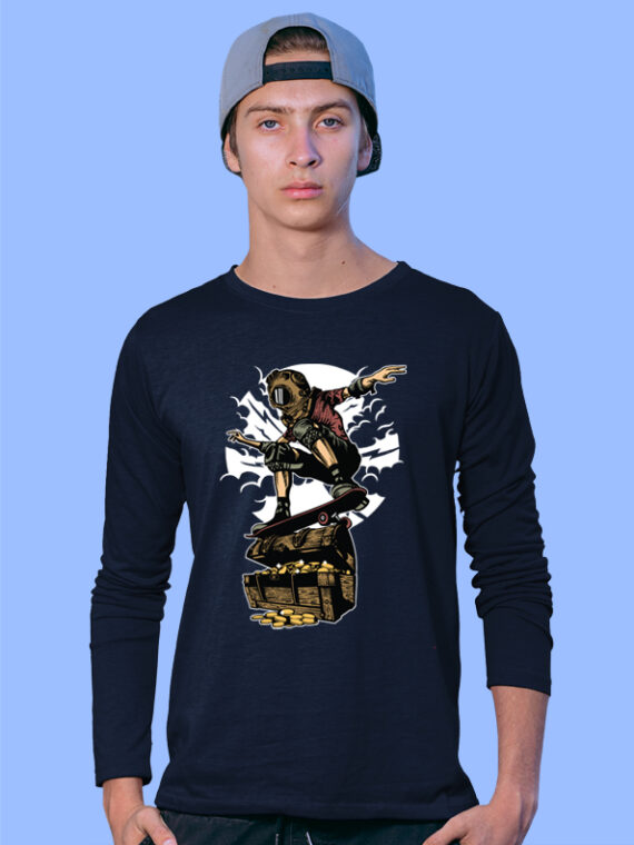 Diver-Skater-Treasure Black Full Big Prints For Men's 4