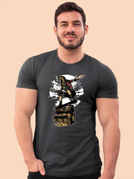 Diver-Skater-Treasure Black Half Prints For Men's 4