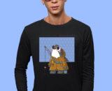 Fishing--Time Black Full Big Print T-Shirt For Men 2