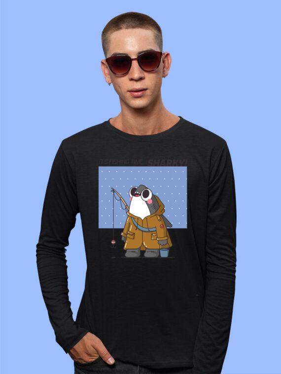Fishing--Time Black Full Big Print T-Shirt For Men 3