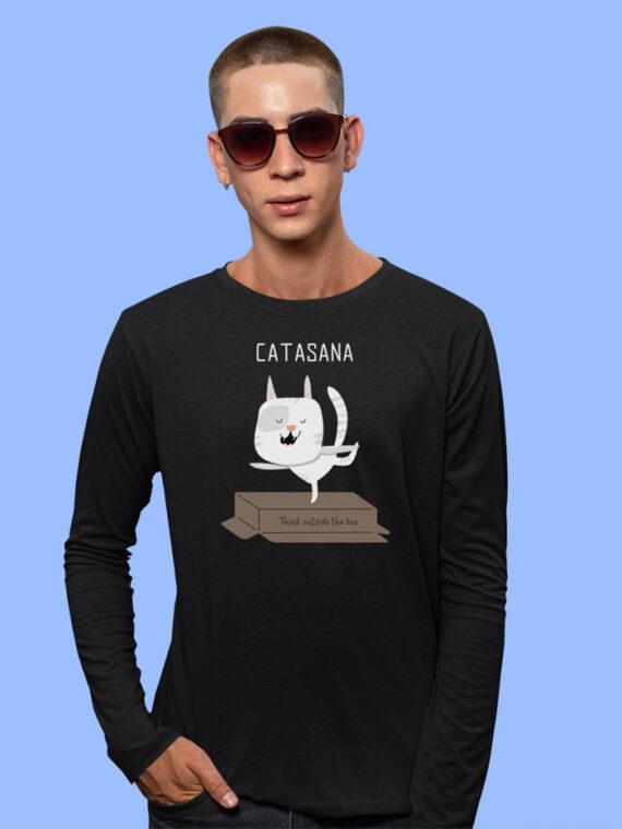 Catasana Full Sleeves Black T-shirt For Men 1