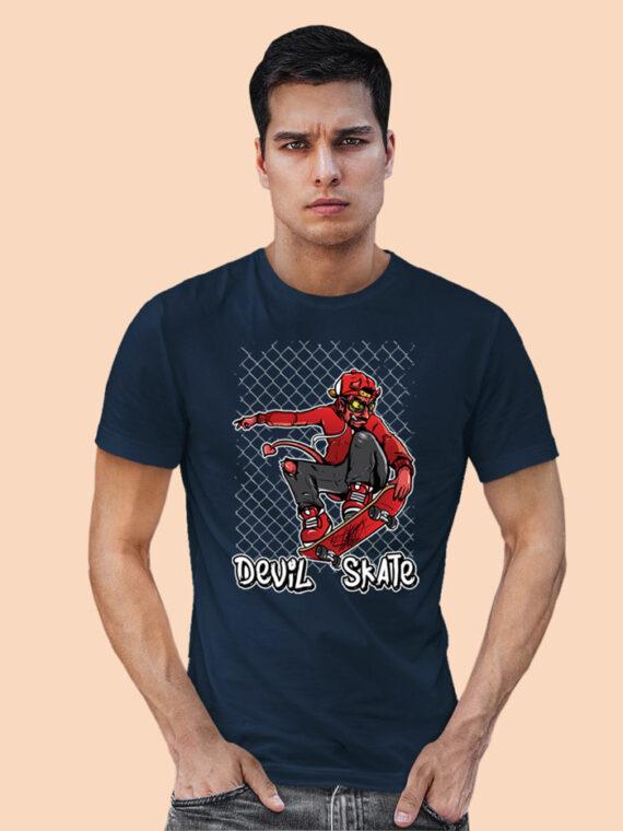 Devil-Skate Black Half Big Prints For Men's 5