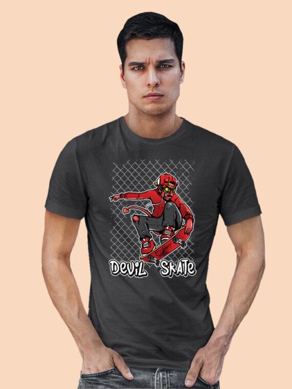 Devil-Skate Black Half Big Prints For Men's 4