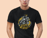 King-Of-The-Road Black Half Big Print T-Shirt 1