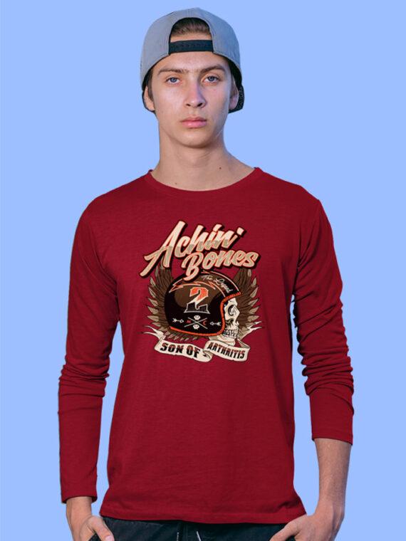 Achin Bone Black Full Sleeves Big Print T-shirt For Men 2
