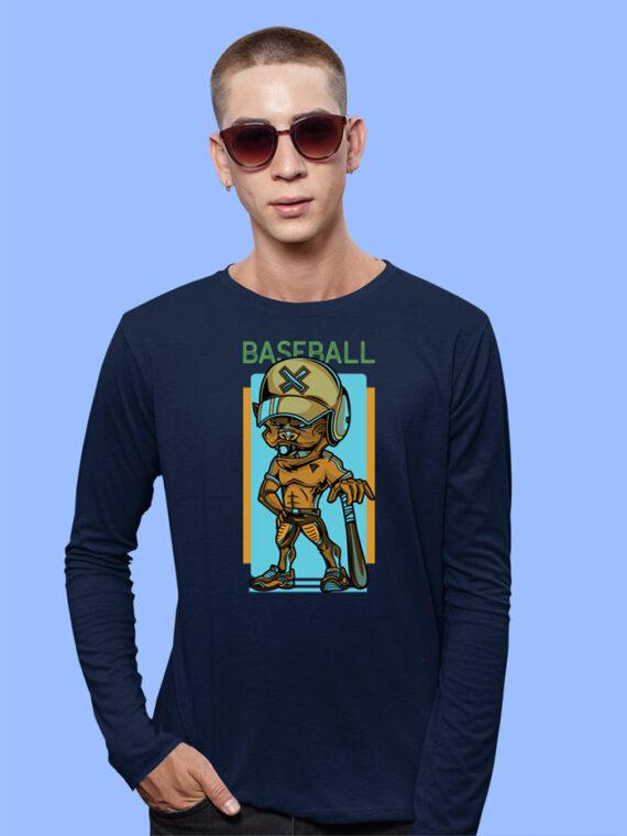 Baseball Black Full Sleeves Big Print T-shirt For Men 1