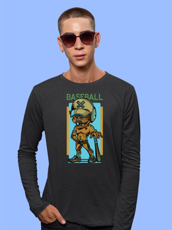 Baseball Black Full Sleeves Big Print T-shirt For Men 2