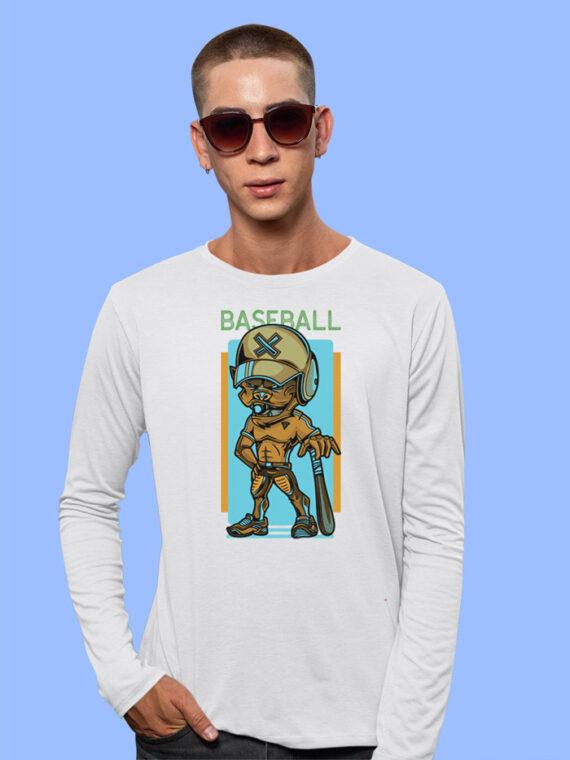 Baseball Black Full Sleeves Big Print T-shirt For Men 3