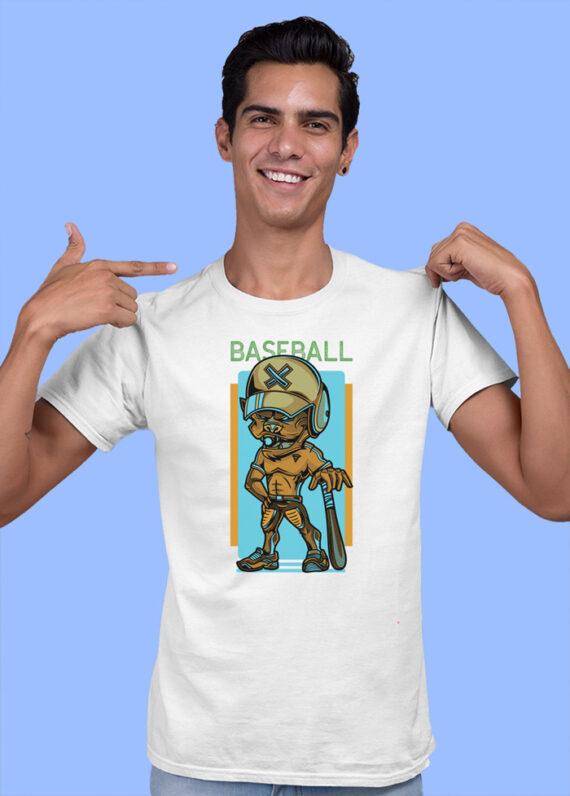 Baseball Black Half Sleeves Big Print T-shirt For Men 3