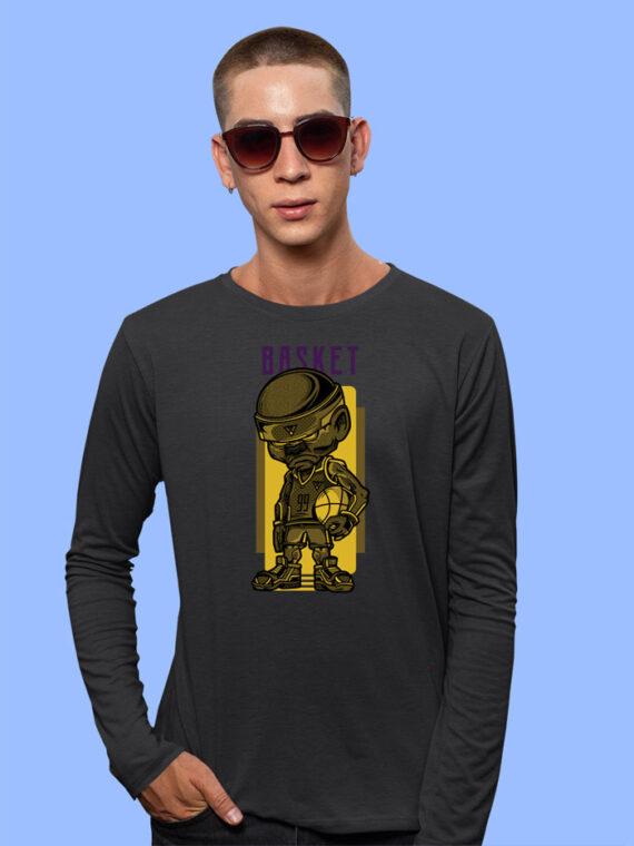 Basket Black Full Sleeves Big Print T-shirt For Men 1