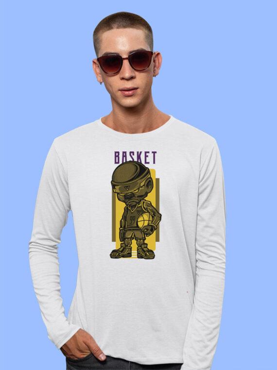 Basket Black Full Sleeves Big Print T-shirt For Men 2