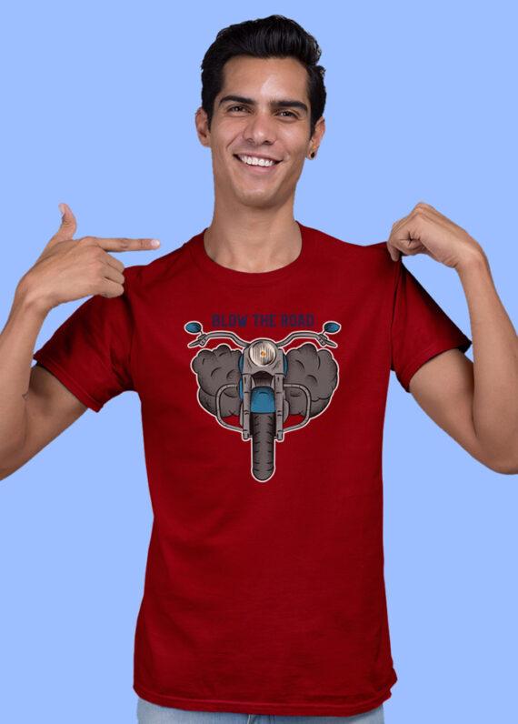 Blow The Road Blue Half Sleeves Big Print T-shirt For Men 2