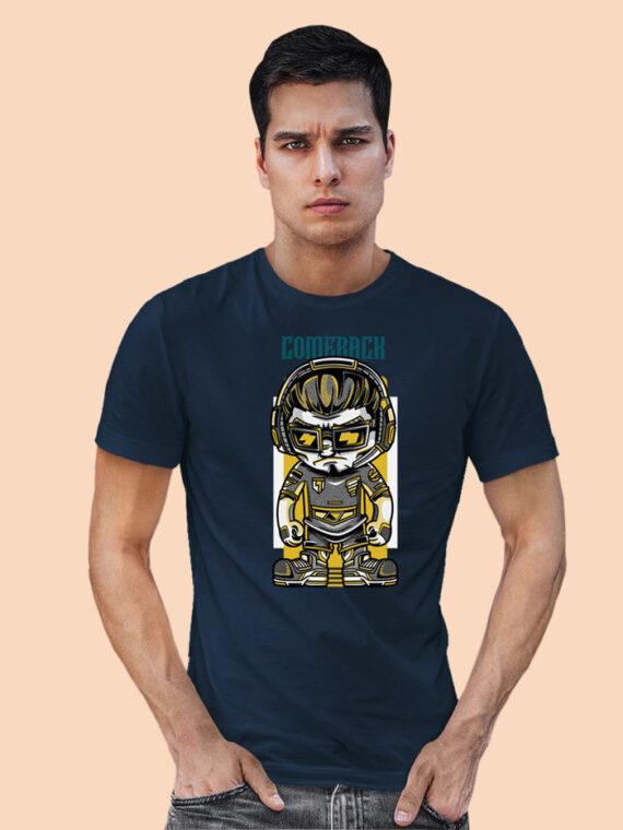 Come Back Black Half Sleeves Big Print T-shirt For Men 1