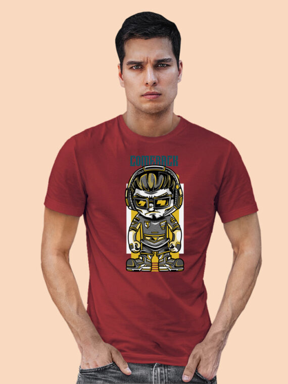 Come Back Black Half Sleeves Big Print T-shirt For Men 2