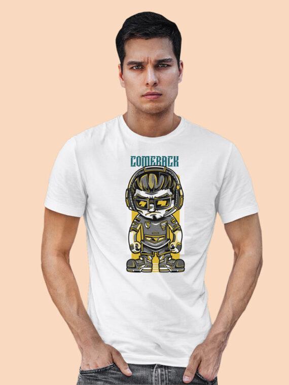 Come Back Black Half Sleeves Big Print T-shirt For Men 3