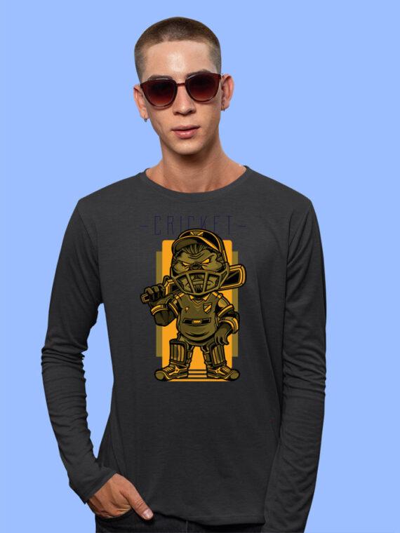 Cricket Black Full Sleeves Big Print T-shirt For Men 1