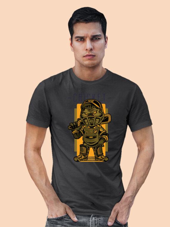 Cricket Black Half Sleeves Big Print T-shirt For Men 1