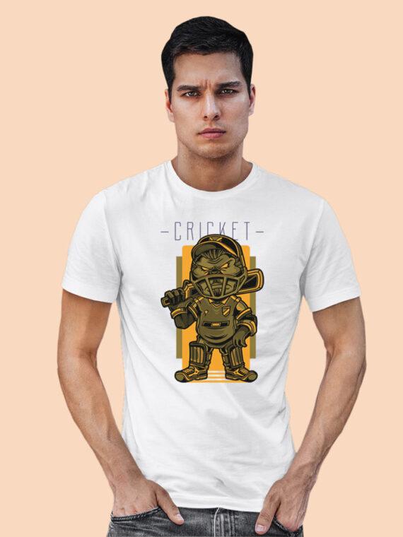 Cricket Black Half Sleeves Big Print T-shirt For Men 2