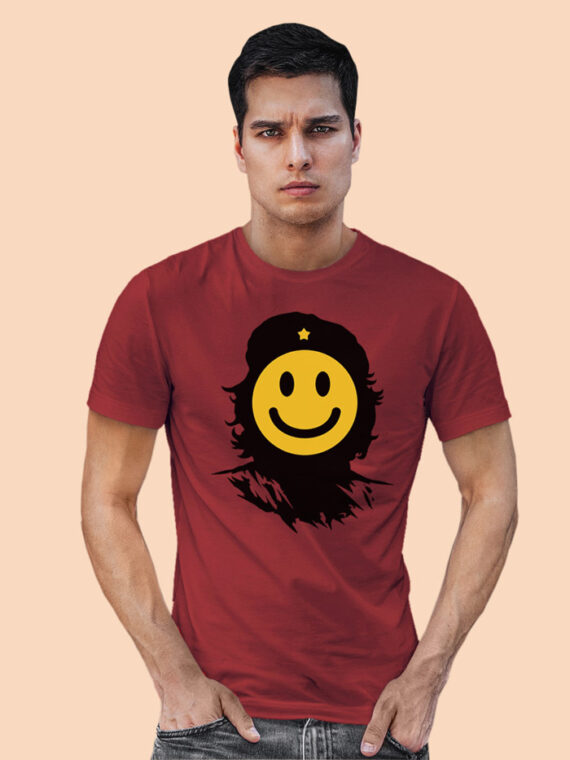 Che-Smiley Red Half Sleeves Big Print T-shirt For Men 1