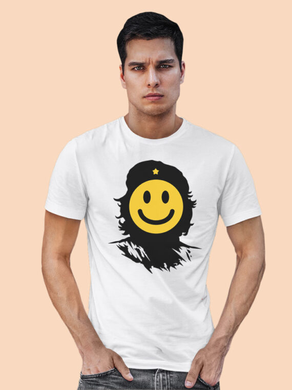 Che-Smiley Red Half Sleeves Big Print T-shirt For Men 2