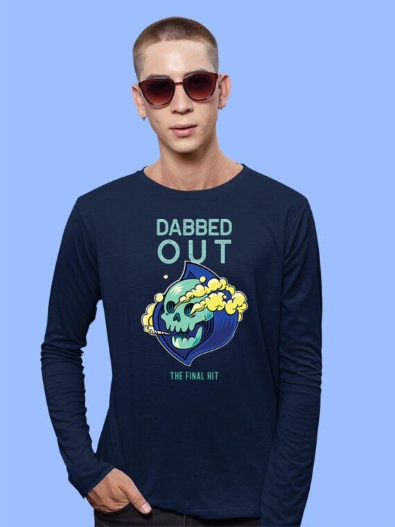 Dabbed Out Black Full Sleeves Big Print T-shirt For Men 1