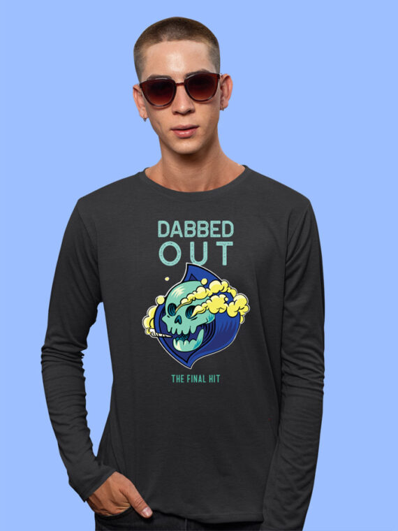 Dabbed Out Black Full Sleeves Big Print T-shirt For Men 2