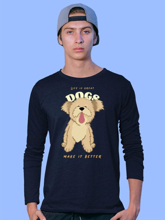 Dogs Make Better Black Full Sleeves Big Print T-shirt For Men 1