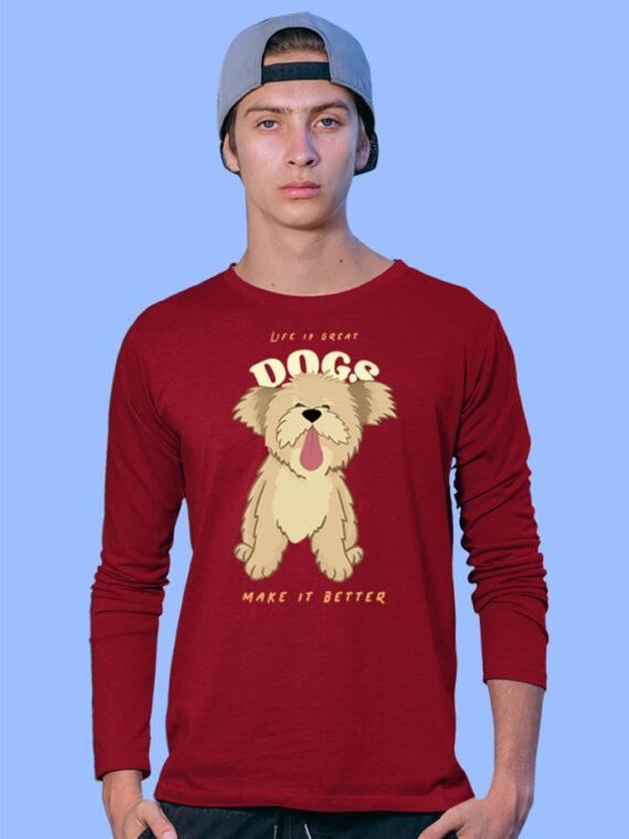 Dogs Make Better Black Full Sleeves Big Print T-shirt For Men 2