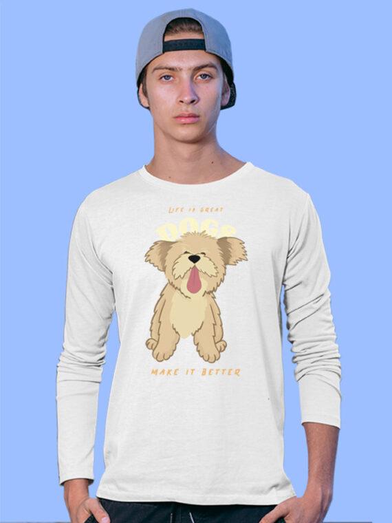 Dogs Make Better Black Full Sleeves Big Print T-shirt For Men 3