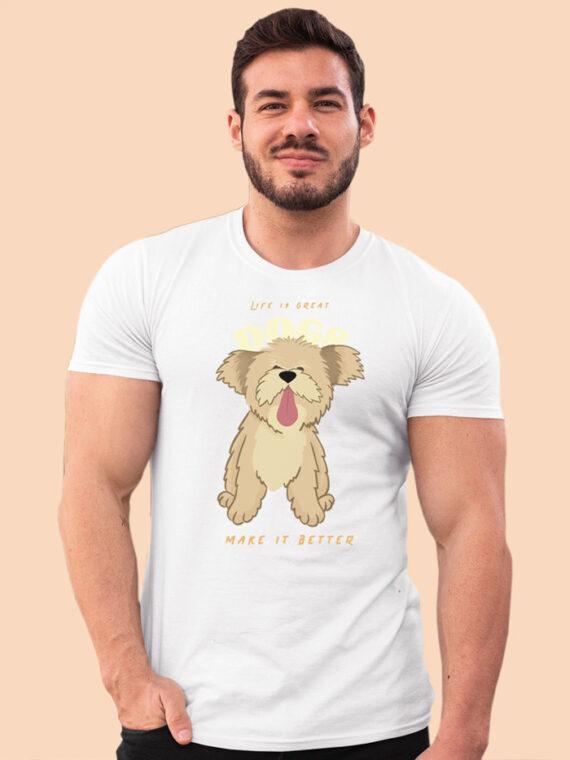 Dogs Make Better Black Half Sleeves Big Print T-shirt For Men 1