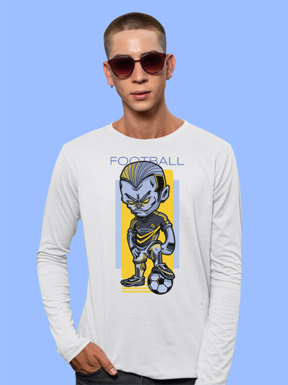Football Game Black Full Sleeves Big Print T-shirt For Men 4