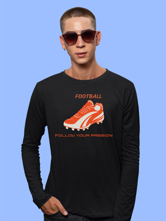 Football Black Full Sleeves Big Print T-shirt For Men 3