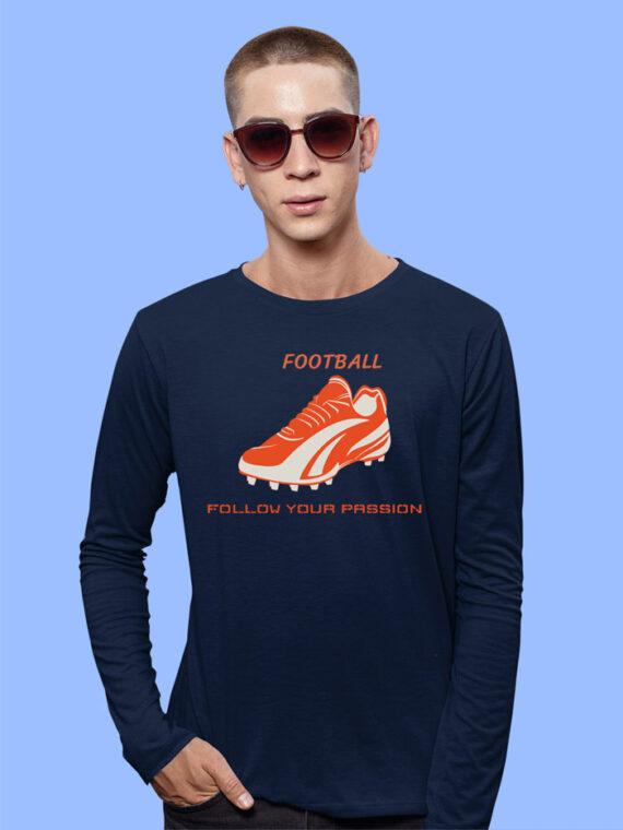 Football Black Full Sleeves Big Print T-shirt For Men 4