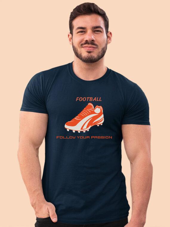 Football Black Half Sleeves Big Print T-shirt For Men 5