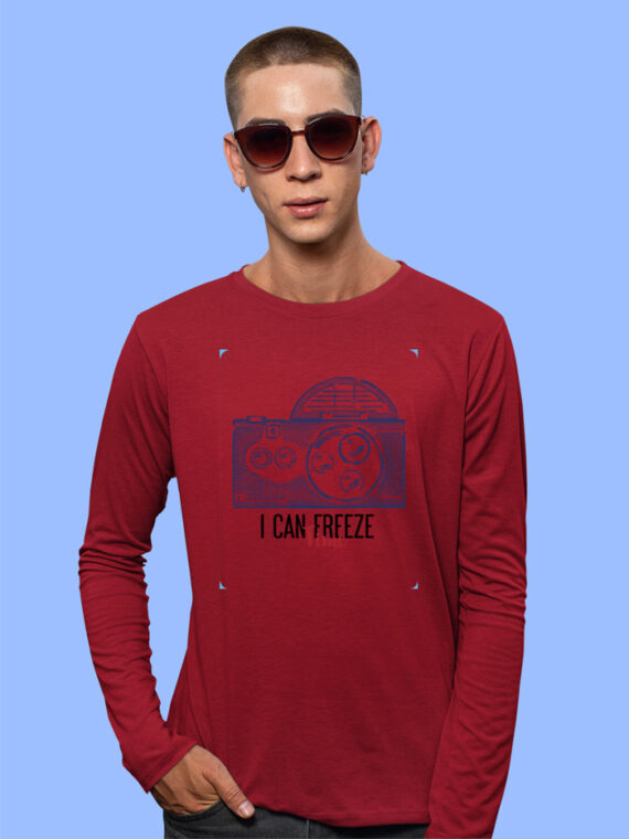 Freeze Time Red Full Sleeves Big Print T-shirt For Men 2