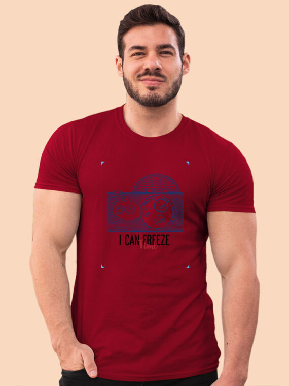 Freeze Time Red Half Sleeves Big Print T-shirt For Men 3