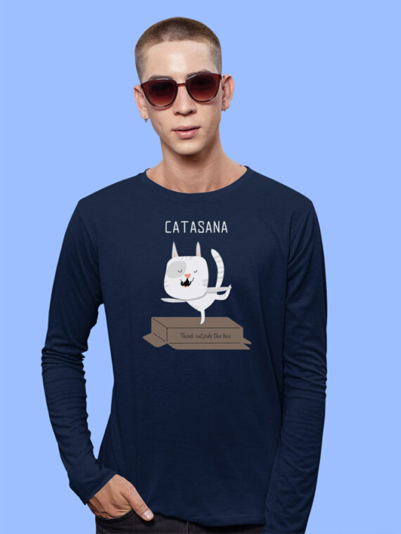 Catasana Black Full Sleeves Big Print T-shirt For Men 1