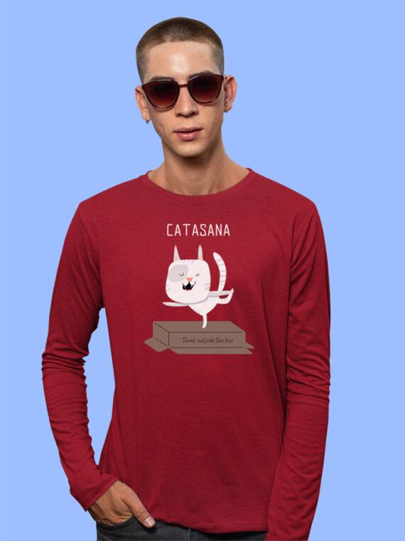 Catasana Black Full Sleeves Big Print T-shirt For Men 2