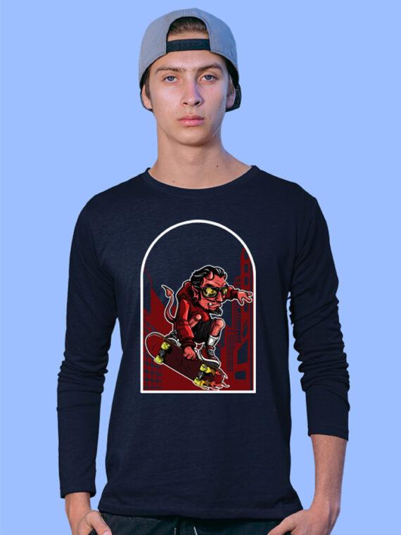 Devil Skate 1 Black Full Sleeves Big Print T-shirt For Men 1